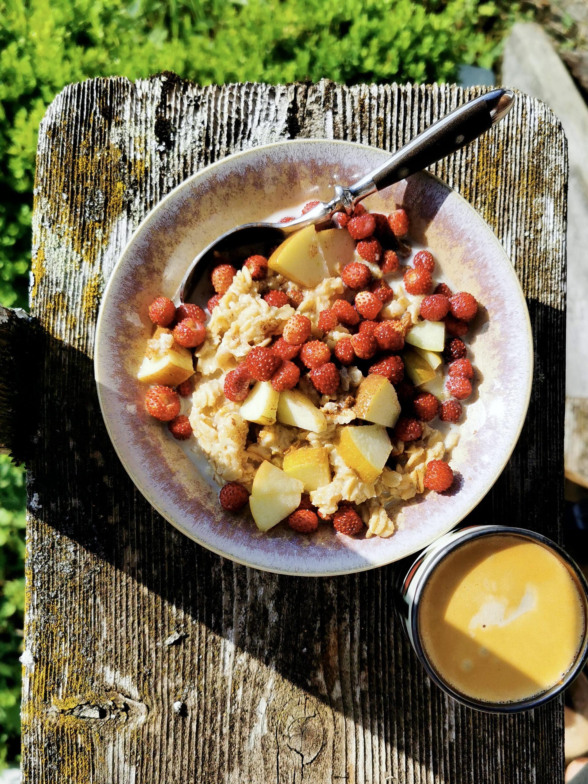 Porridge mit Walderdbeeren